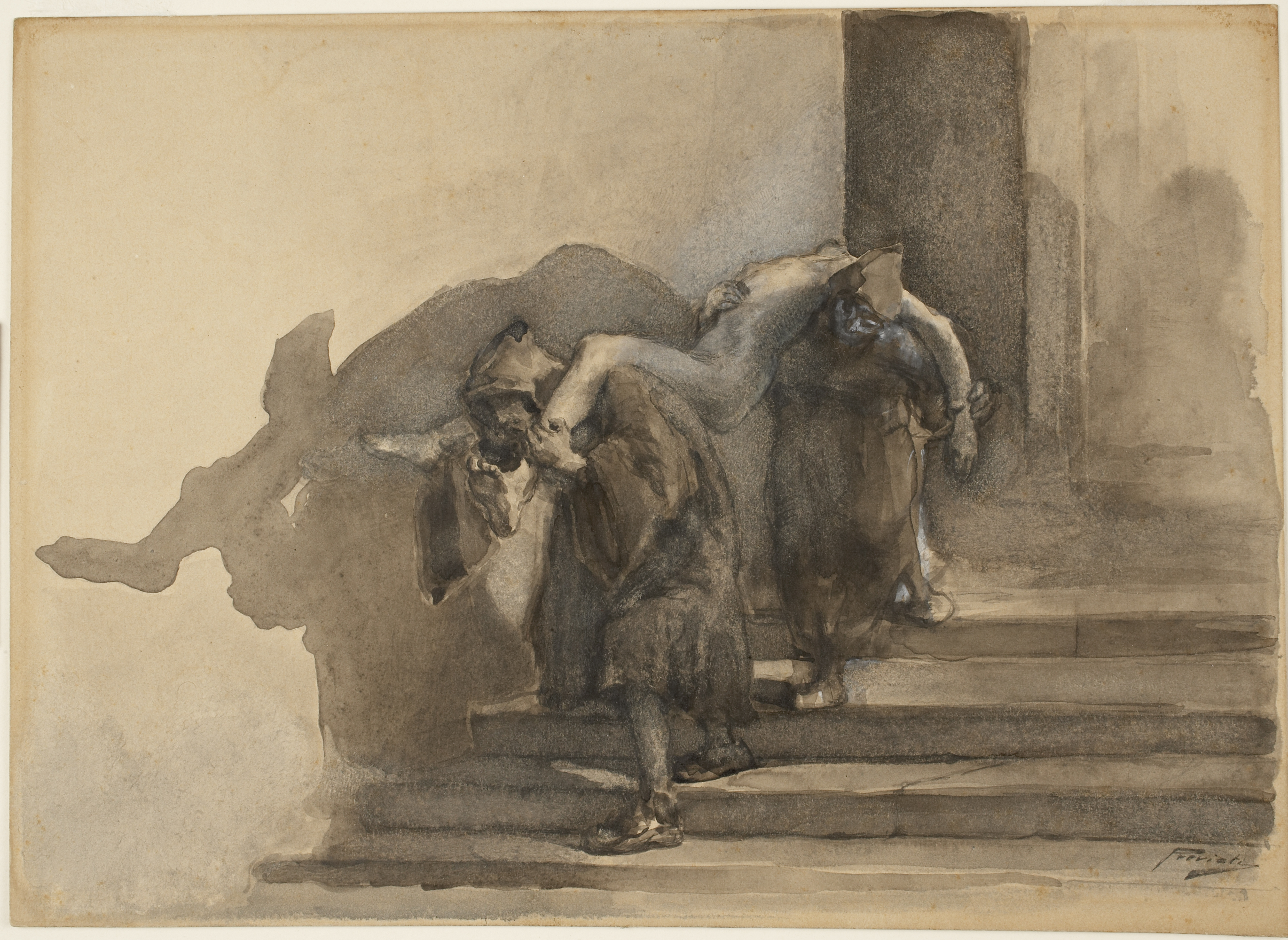 Gaetano Previati (Italian, 1852–1920), The Monatti (illustration to Alessandro Manzoni's I Promessi Sposi), ca. 1895–99. watercolor, heightened with white gouache, on light brown wove, 23.2 x 32.2 cm. Museum purchase, Felton Gibbons Fund (2007-16)