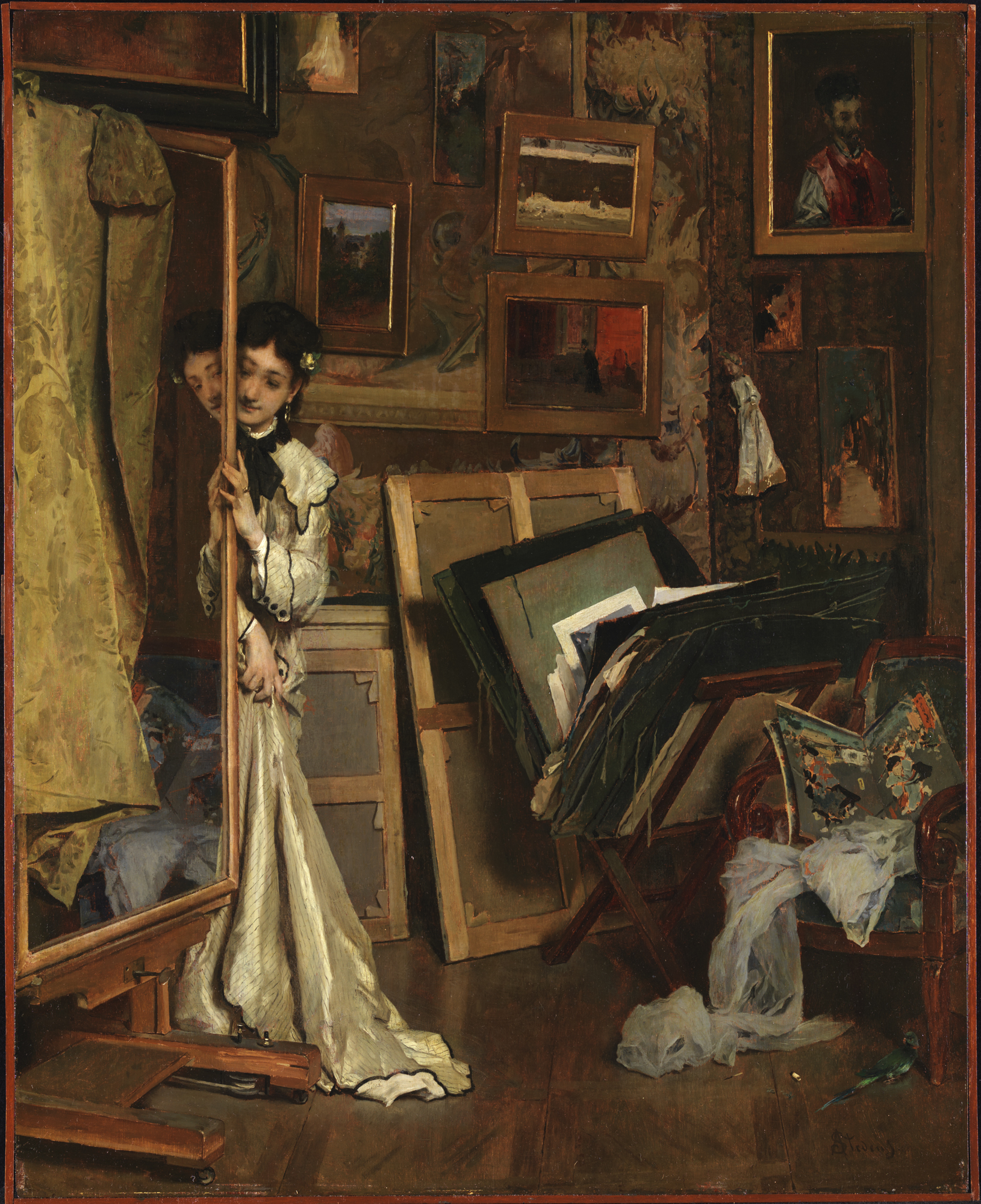 Alfred Stevens, Belgian, 1823–1906: La Psyché (My Studio), ca. 1870. Oil on panel, 73.7 x 59.1 cm. Museum purchase, Fowler McCormick, Class of 1921, Fund (2012-76). Photo: Bruce M. White