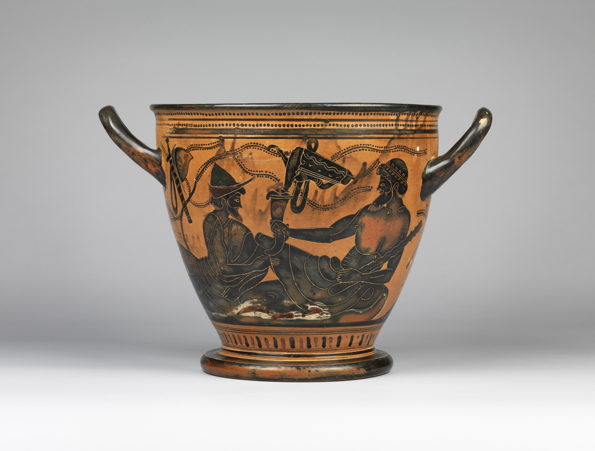 Greek, Attic, attributed to the Theseus Painter, ca. 490 b.c.: Black-figure skyphos: symposium