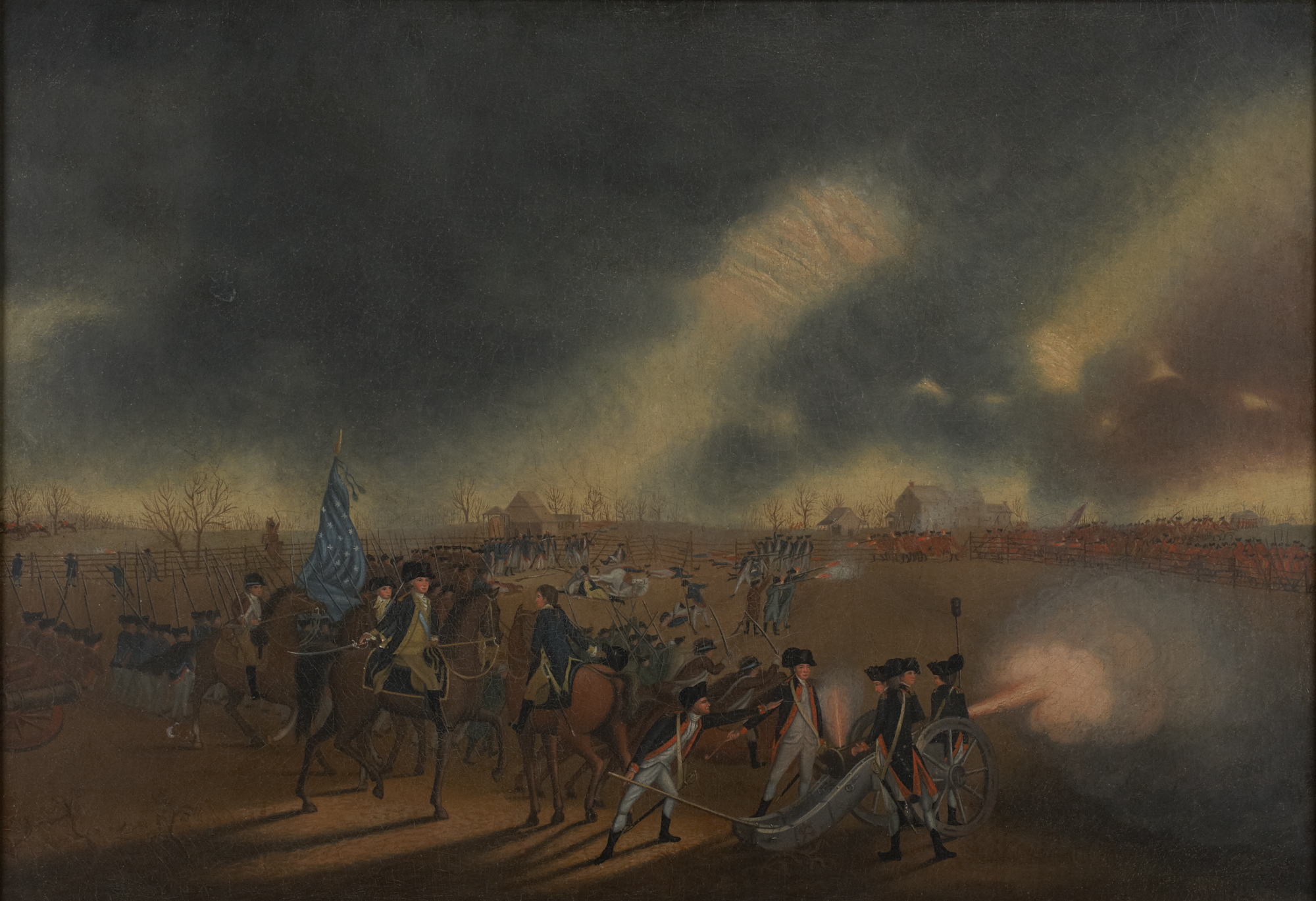 James Peale, American, 1749 - 1831. The Battle of Princeton, ca. 1782. Oil on canvas. Princeton University, gift of Dean Mathey, Class of 1912, in 1951.