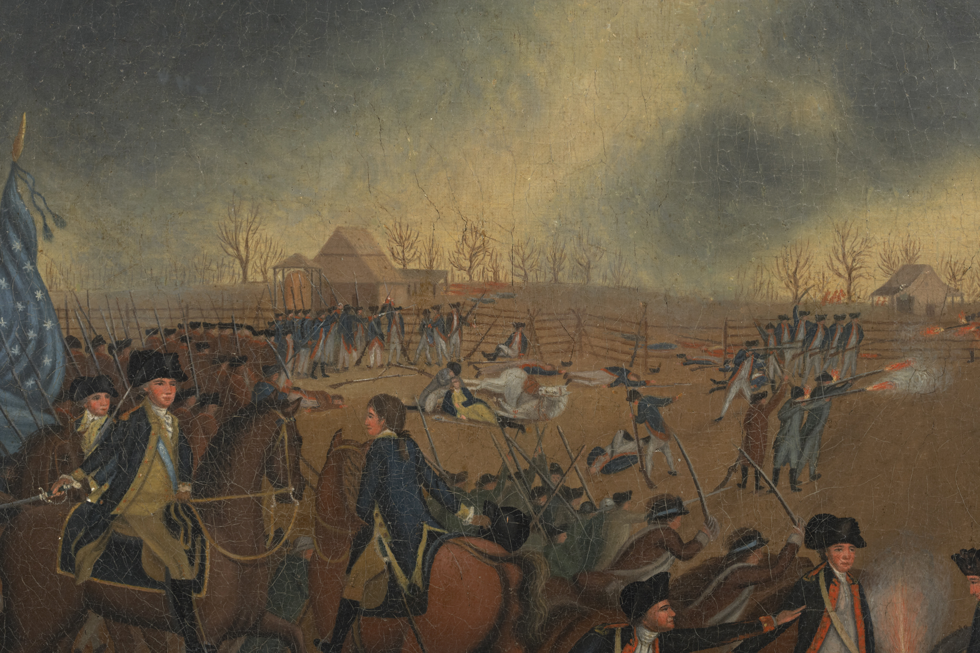 "Detail showing Washington in foreground on his chestnut, ""Nelson."""