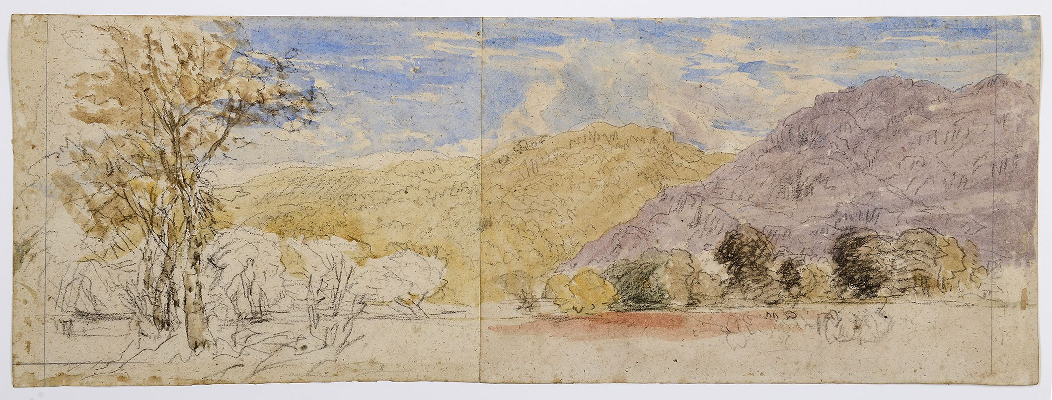David Cox, English, 1783–1859: Mountainous Landscape, North Wales, late 1840s–early 1850s. Watercolor and black chalk on two joined sheets of heavy oatmeal wove paper. Museum purchase, Surdna Fund (2017-217)