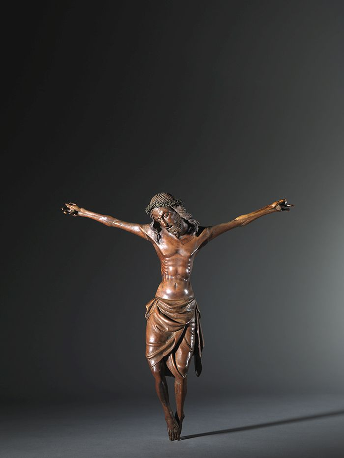 Austrian or German crucifix, sculpted from fruitwood, ca. 1400
