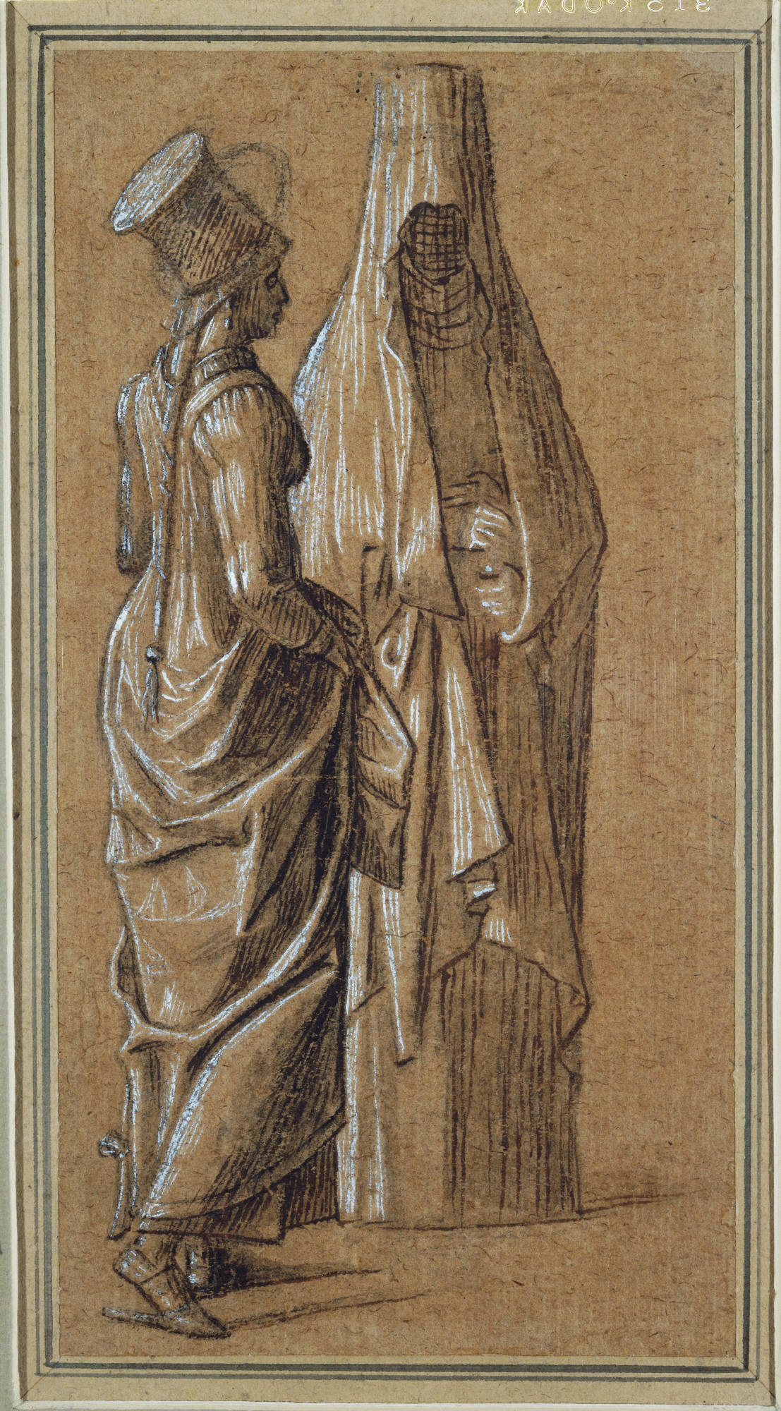 Vittore Carpaccio (Italian, ca. 1460/66– 1525/26), Two Standing Women, One in Mamluk Dress, 1501–8. Brush and brown ink with brush and gray-brown wash, heightened with white gouache, over black chalk, on light brown laid paper, 23.2 x 12.1 cm. Gift of Frank Jewett Mather Jr. (x1944-274)